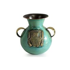 NOVICA Bronze and Copper Vase with Tumi Knife from Peru (415 ILS) ❤ liked on Polyvore featuring home, home decor, vases, green, home accessories, copper vessel, bronze vase, handmade vase, green home decor and copper vase