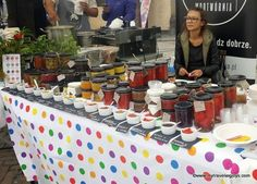 Homemade jams and salsas for sale at this farmer's market in Warsaw -  Koszyki.