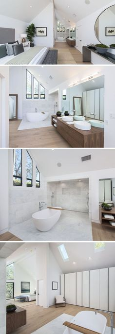 This modern master bedroom has a vaulted ceiling with an open bathroom. A white freestanding bathtub sits next to the dual shower, which is surrounded by tile. On the opposite wall to the shower is a wall of closets. #MasterBedroom #BedroomSuite #Bedroom #Bathroom #tilebathtub