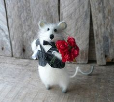 Romantic Mouse with red flowers, Art Soft Sculpture, Grey angora knitted Mouse, Handmade Stuffed Animals, MADE TO ORDER Knitted Animals, Needle Felted Animals, Felt Animals, Needle Felting, Handmade Stuffed Animals, Felt Mouse, Cute Mouse, Bear Doll, Felt Art