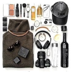 fall flat lay from Instagram - turtleneck, ballcap, nars makeup, marble iphone case