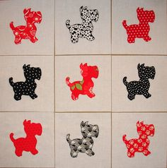 Scotty Dog Appliqued Finished Quilt Blocks Red and by zizzybob, $13.25