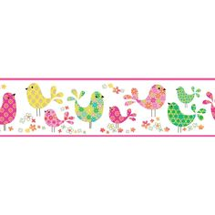 5.75 in. x 10 in. Partridge Pink Calico Birdies Toss Border Sample