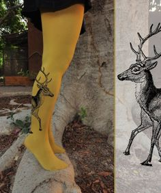Hey, I found this really awesome Etsy listing at https://www.etsy.com/listing/124101630/tattoo-tights-deer-pantyhose-size-xs-s-m