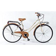 Bicicleta Holanda de 26 pulgadas, color crema y marrón, con sillín negro