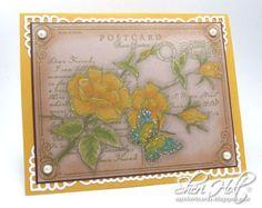 Rose Postcard Background Stamp- JustRite February Release | JustRite Papercraft Inspiration Blog