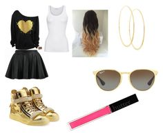 """""""black and gold so chic"""" by goddessjackson on Polyvore featuring Ray-Ban, Lana, Giuseppe Zanotti, American Vintage and Butter London"""