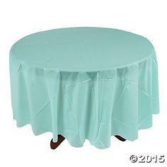 Light Blue Round Tablecloth