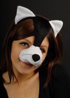 Black Cat Headpiece Mask on Headband