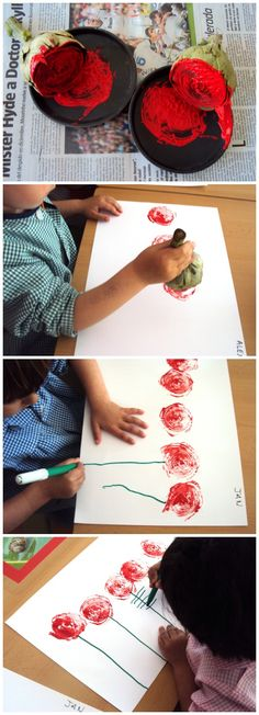 Make rose/flower prints with the end of celery you cut off.