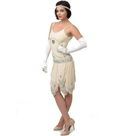 Iconic by UV Exclusive Cream & Silver Sequined Gatsby Flapper Dress  gatsby 20s costume