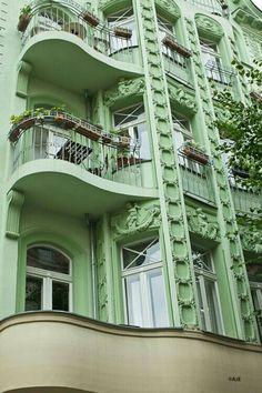 Art Nouveau to Art Deco transition: Balconies in Berlin Art Deco, Art Nouveau, Mint Green Aesthetic, Aesthetic Colors, Summer Aesthetic, Amazing Architecture, Architecture Details, Green Architecture, Green Photo