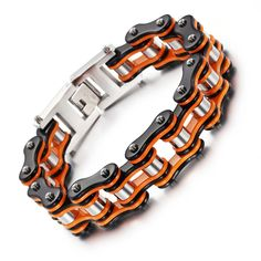 Orange Europe and the United States stainless steel bicycle bracelet alternative men motorcycle chain titanium steel bicycle