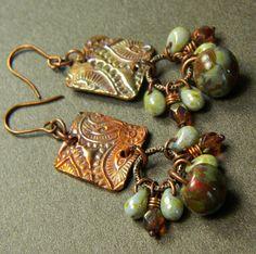 Paisley Earrings Copper Metal Clay Rustic OOAK by ChrysalisToo