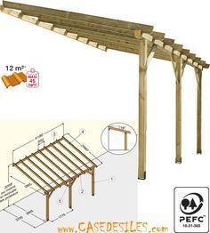 Abri de terrasse bois 12mc ABT4230 classe 4 à Prix Choc