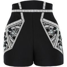 sass & bide Ocean of Life Embellished Tailored Shorts (17,010 DOP) ❤ liked on Polyvore featuring shorts, bottoms, pants, high-waisted shorts, highwaist shorts, tailored shorts, embellished shorts and high rise shorts