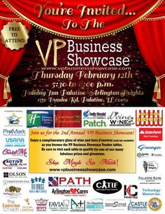The VP Business Showcase will be held on Thursday, February 12 from 530pm-8pm at the Holiday Inn Express Palatine-Arlington Heights at 1550 E. Dundee Road in Palatine just west of Route 53.VP Public Relations