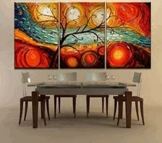 Absolutely amazing deal......$36. Amazon.com - Colorful Tree Modern Abstract 100% Hand Painted Oil Painting on Canvas Wall Art Deco Home Decoration (Unstretch No Frame) - Wal...