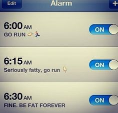 Guilting yourself into running Motivational Alarm Clock, Funny Images, Funny Pictures, Funny Pics, And So It Begins, Gym Humor, Fitness Humor, Funny Fitness, Running Humor