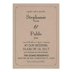 Simple Elegant Navy Blue White Wedding Invitation