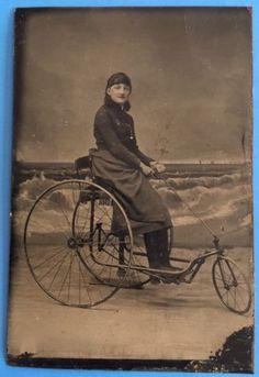 Original-GIRL-ON-UNUSUAL-3-WHEEL-BICYCLE-1880s-Tinted-Tintype-Photo-TRICYCLE