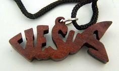 Dark Wood Cut Out Ichthus Jesus Fish Pendant Christian Jewelry 30 ...