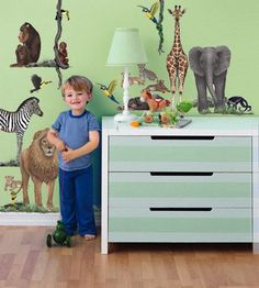 """Cute jungle & safari animal wall decals that are more life-like and less """"baby store"""" that will last your kiddo into much older years.  Could make a great DIY dresser or furniture make-over!"""