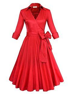 Material: 100% Cotton Color: Black & Red & Black Dot & Navy Blue Flower & Green Flower Dress Length: Below Knee Neck: Deep-V neck Sleeve Style: 3/4 Sleeve Feature: Bow Belt for adjustingOccasion: Co...