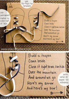 Teaching shoe laces.