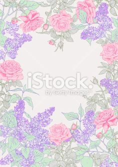 Lilac, Roses, Frame Royalty Free Stock Vector Art Illustration
