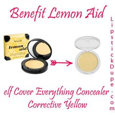 Benefit Lemon Aid Dupe! Whether you want to use this as a concealer or an eyelid primer, for $2 you can't go wrong! The elf Essential Cover Everything Concealer in Corrective Yellow is for you!