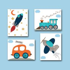 Car Nursery Rocket Nursery Baby Boy Nursery Decor Children Art Print Baby Nursery Print Set of 4 Plane Nursery Train Nursery Gray Blue – Nursery Decor Boho Decor Ideas