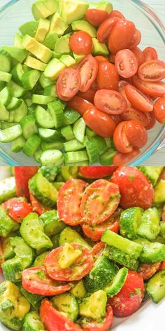 This Cucumber Tomato Avocado Salad is an easy, scrumptious summer salad. It's crunchy, fresh, and made with everyday ingredients. It's a family favorite. FOLLOW Cooktoria for more deliciousness! #tomato #avocado #cucumber #salad #lunch #keto #ketodiet #ketosis #lowcarb #recipeoftheday