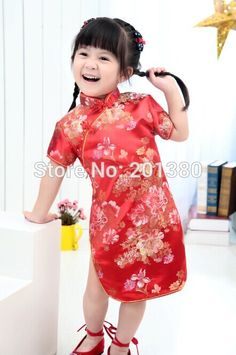 Cute Girls' Dresses Kid Chinese chi-pao cheongsam New Year gift Party Children's Clothes Robe Baby Qipao