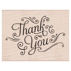 Thank You with Flourishes Stamp  Woodblock Craft by myrubberstamp, $11.00