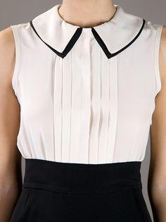 VICTORIA VICTORIA BECKHAM - Vestido branco e preto. 10 Cute Blouses, Shirt Blouses, Luxury Fashion, Womens Fashion, Work Attire, Refashion, Blouse Designs, Dress To Impress, Casual Outfits