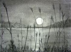 Charcoal Drawing Sunset Over Pamlico Sound, by Debbie Adams - Pencil Sketches Landscape, Pencil Drawings Of Nature, Nature Drawing, Landscape Drawings, Drawing Sunset, Drawing Scenery, Charcoal Sketch, Charcoal Art, Graphite Drawings