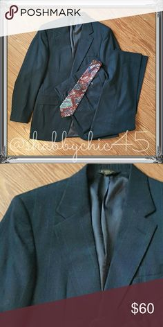 Young Men's Dress Suit -Priced to Sell!! Wool blend navy pinstripe two piece suit. Don't spend hundreds on a suit your young man will outgrow! This awesome buy features a 38R jacket with 31x28 matching slacks. Picture 2 shows the thin red and light blue pinstripes.   Smoke free home. Open to reasonable offers unless marked as firm.? Please no trades or low balls. Happy Poshing!! Hunting Horn Suits & Blazers Suits