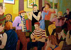 """""""La alegría de vivir"""", 2013 Técnica mixta sobre lienzo, 130x89 cm   Este cuadro es una pequeña alegoría de la alegría de vivir, de la plenitud del amor, de la música de la felicidad.  El ayer ya no existe hoy y el mañana no es más que una promesa. Si escuchamos ahora la música tocar para nosotros, entreguémonos a ella sin prejuicios o remordimientos. No echemos de menos una felicidad dejada escapar, sino celebremos el recuerdo de aquella que hemos vivido con franqueza."""