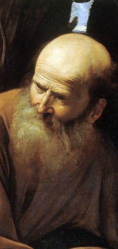 Abraham in the sacrifice of Isaac by Michelangelo Merisi da Caravaggio (detail)