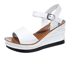 TMates Womens Casual AnkleStrap Buckle Leather Wedge Heel Sandals 85 BMUSwhite * You can find out more details at the link of the image. (This is an affiliate link) #WomensHeeledSandals
