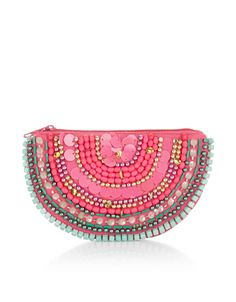 Bring a fresh squeeze of style to your everyday bag with our embellished watermelon purse, decorated with sequins and beads. Features a zip-top fastening.