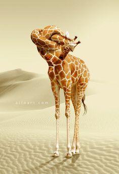 En este tutorial de Photoshop aprender a crear comicscene con la jirafa realista nudo del cuello y aplicar la textura manchada a ella