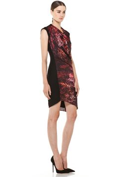 Helmut Lang | Midnight Floral Twill Dress in Red Multi