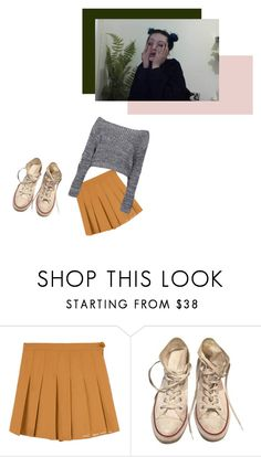 """""""back to school blues"""" by genderless-doll ❤ liked on Polyvore featuring Converse and Boohoo"""