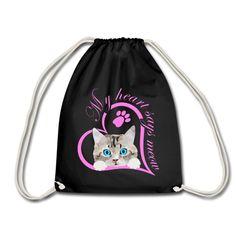 Mein Herz sagt miau Katze Kätzchen Geschenk | SpreadCats. Süßes Baby Kätzchen, Katze. Schönes Design für Katzenbesitzer, Katzen Freunde und Katzen Liebhaber. Tolles Geschenk für Katzenbesitzer. Mein Herz sagt miau.#katze #Kätzchen #katzenliebhaber #cat #cute Drawstring Backpack, Backpacks, Sayings, Bags, Gifts For Cats, Great Gifts, Sports Activities, Baby Kitty, Nice Designs