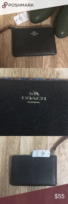 Coach Black Leather Side Zip Wristlet Get organized and stylish with this wristlet from Coach! Textured black leather with silver hardware, red detailing and a floral zipper line, features two card slots inside and can fit a standard size iPhone (excluding the iPhone X). NWT, never used, will be sent with Coach gift wrapping.  🚫TRADES🚫 🚫OFFLINE TRANSACTIONS🚫  ✅BUNDLES✅ ✅REASONABLE OFFERS✅  Happy Poshing! 😄 Coach Bags Clutches & Wristlets