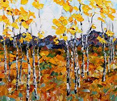 "Landscape Artists International: Original Palette Knife Aspen Tree Landscape Painting ""Altitude Gain II"" by Colorado Impressionist Judith Babcock"