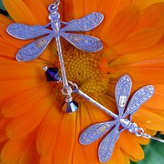 Wishes and Dreams Collection Light Purple Patina and Swarovski Crystal Earrings by ShimmerShimmer $20 Click for purchase!