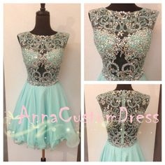 179.00$  Buy now - http://viwcz.justgood.pw/vig/item.php?t=v1b1kk4863 - Sexy Short Mint Beaded See-through Chiffon Homecoming Dress, H5029 179.00$